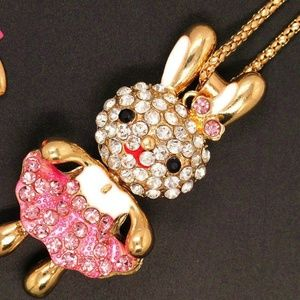 Jewelry - New Pink Crystal Enamel Bunny Rabbit Necklace Long